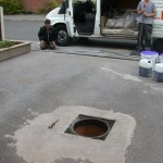 tarmac drive Kings Clipston remedial works to eco drain and manhiole